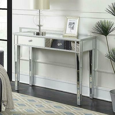 2 drawer mirrored vanity make up desk