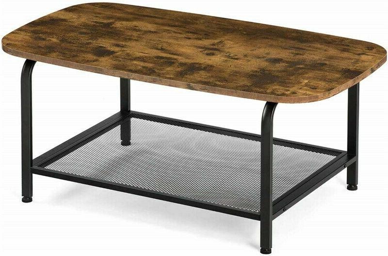 Metal Frame Round Coffee Table Cocktail Console Table W/ Sto