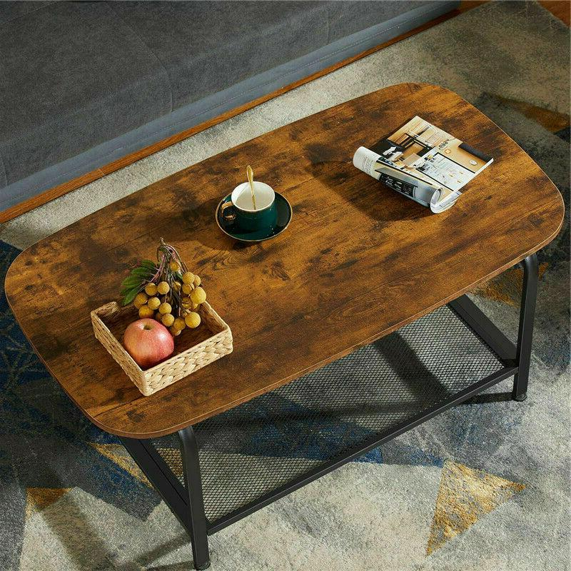 Round Coffee Table End Console Table Wood Look Accent Furnit