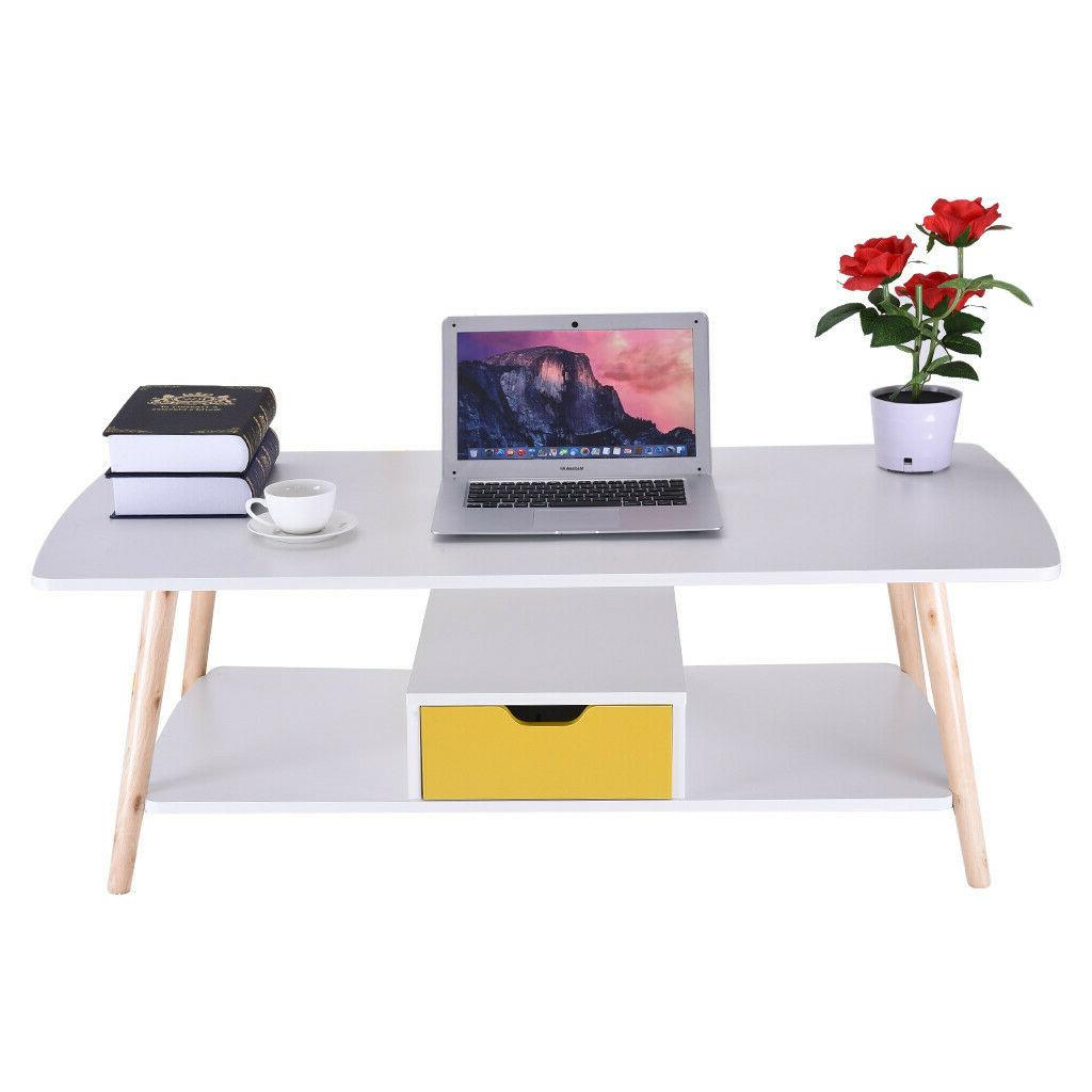 2 Tier Storage End Side Table Table Shelf&Drawer