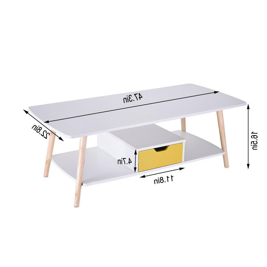 2 Tier Table Table Shelf&Drawer