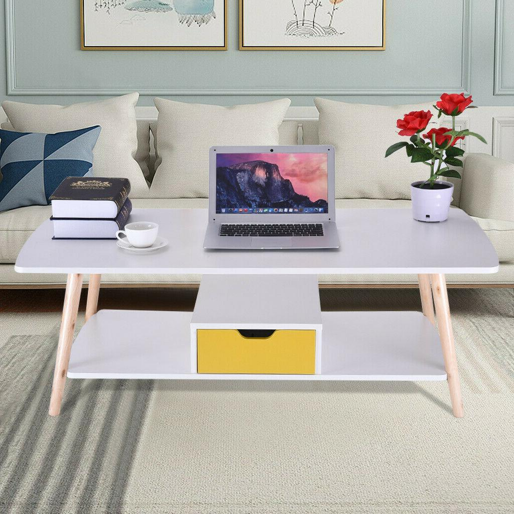 2 tier coffee table storage end side