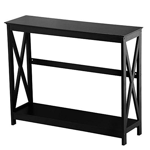Yaheetech 2 X-Design Occasional Console Sofa Table Bookshelf Entryway Accent Tables w/Storage Shelf Room Hall Table