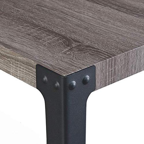 O&K Furniture 2-Tier Sofa Table, Metal Hall Console Table Shelf for Living and