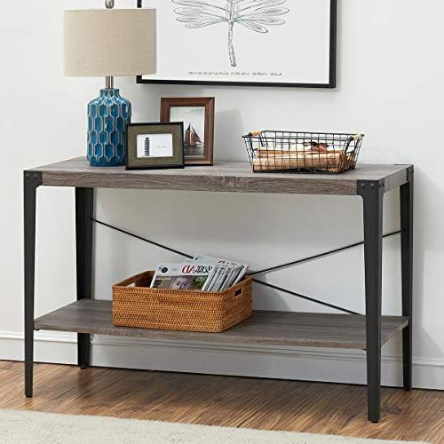 O&K Industrial Sofa Console with Shelf for Living and Gray