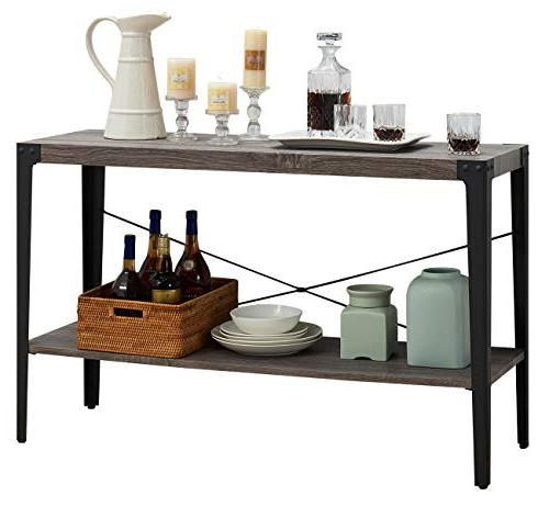 O&K Furniture Sofa Table, Console Storage Shelf for Living and Gray
