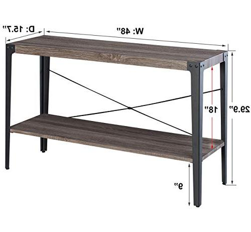 O&K Sofa Table, Console Table with Storage Shelf for Room and Finish