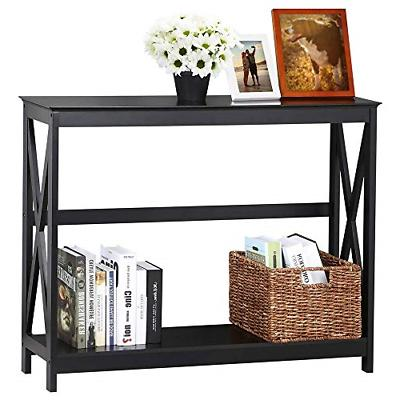 Yaheetech 2 Tier X Design Hallway Large Console Table Entryw