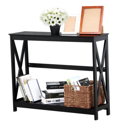 Yaheetech 2 Tier X-Design Occasional Console Sofa Side Table