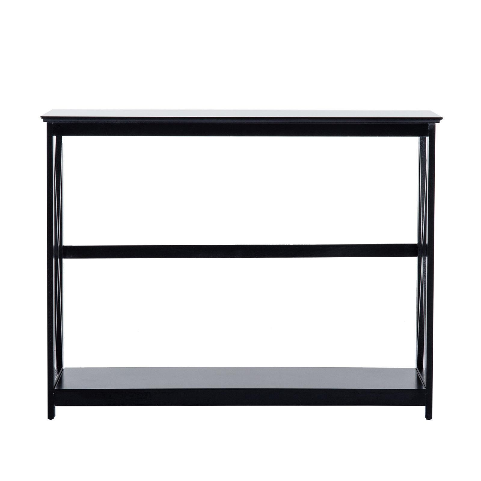 2 Tiers Black Table Accent with Storage Furniture