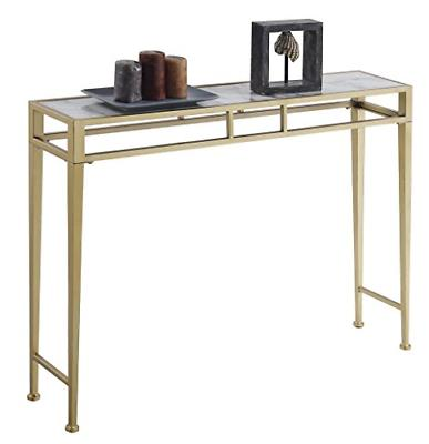 Convenience Concepts Console Table, Faux Marble/Gold Frame