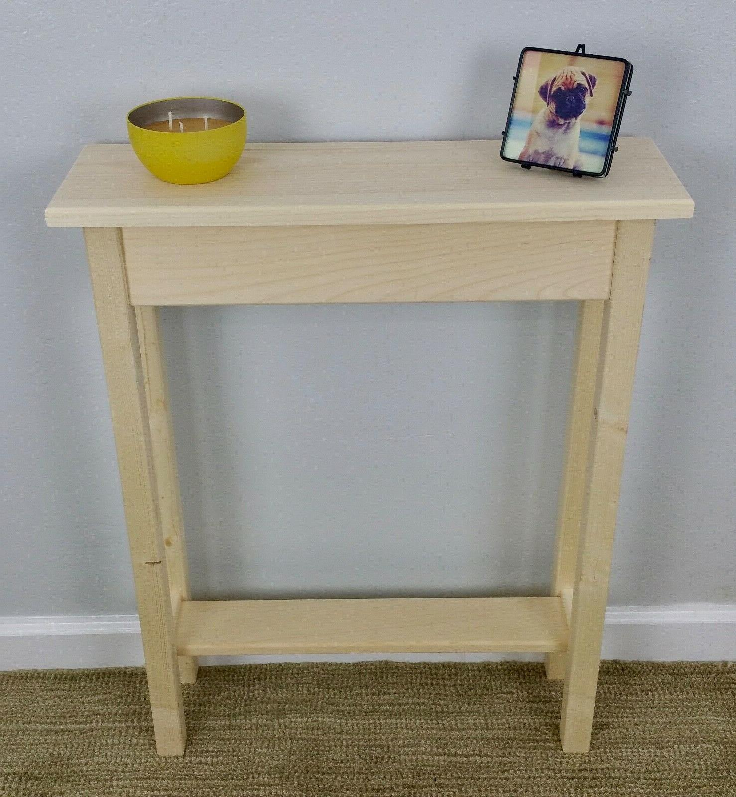 """24"""" Narrow Unfinished Pine Console, Sofa, Hall, Wall Table W"""