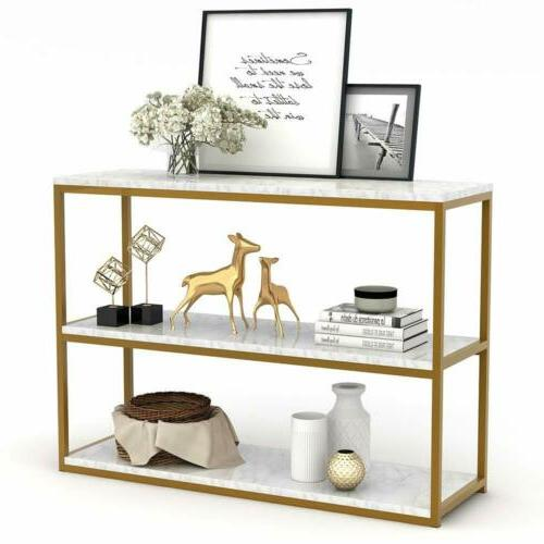 3-Tier Console Table, Sofa Entry Table with Faux Marble Top