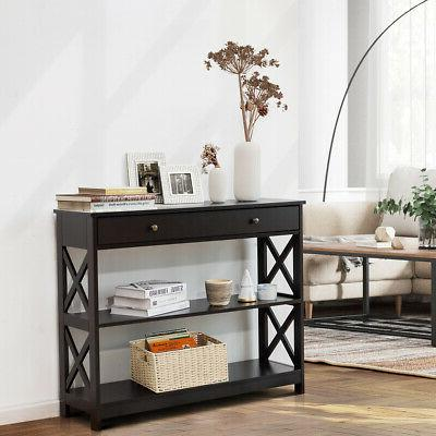 3-Tier Console Table Entryway Drawer Shelves