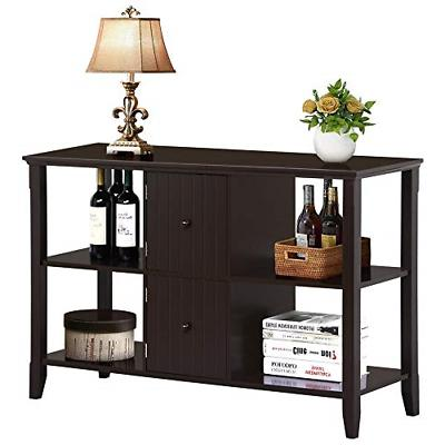 Yaheetech 3 Tier Solid Wood Buffet/Sideboard Table Console S