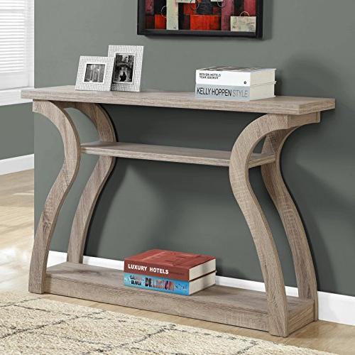 3-Tiered Curved Console Table with Storage Entryway Desk Organizer Three Shelves Room Accent - Taupe