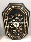3'x2' Black Marble Console Table Top Floral Mosaic Inlaid Fu