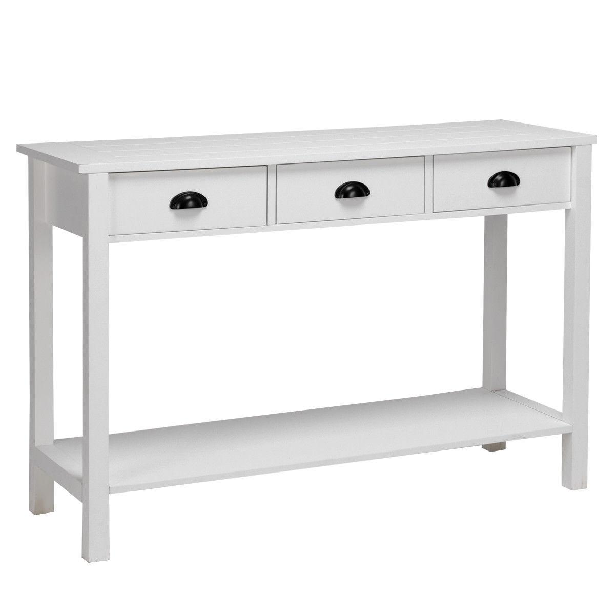 """47"""" Table Table Table Desk Drawers Shelf Entryway White"""