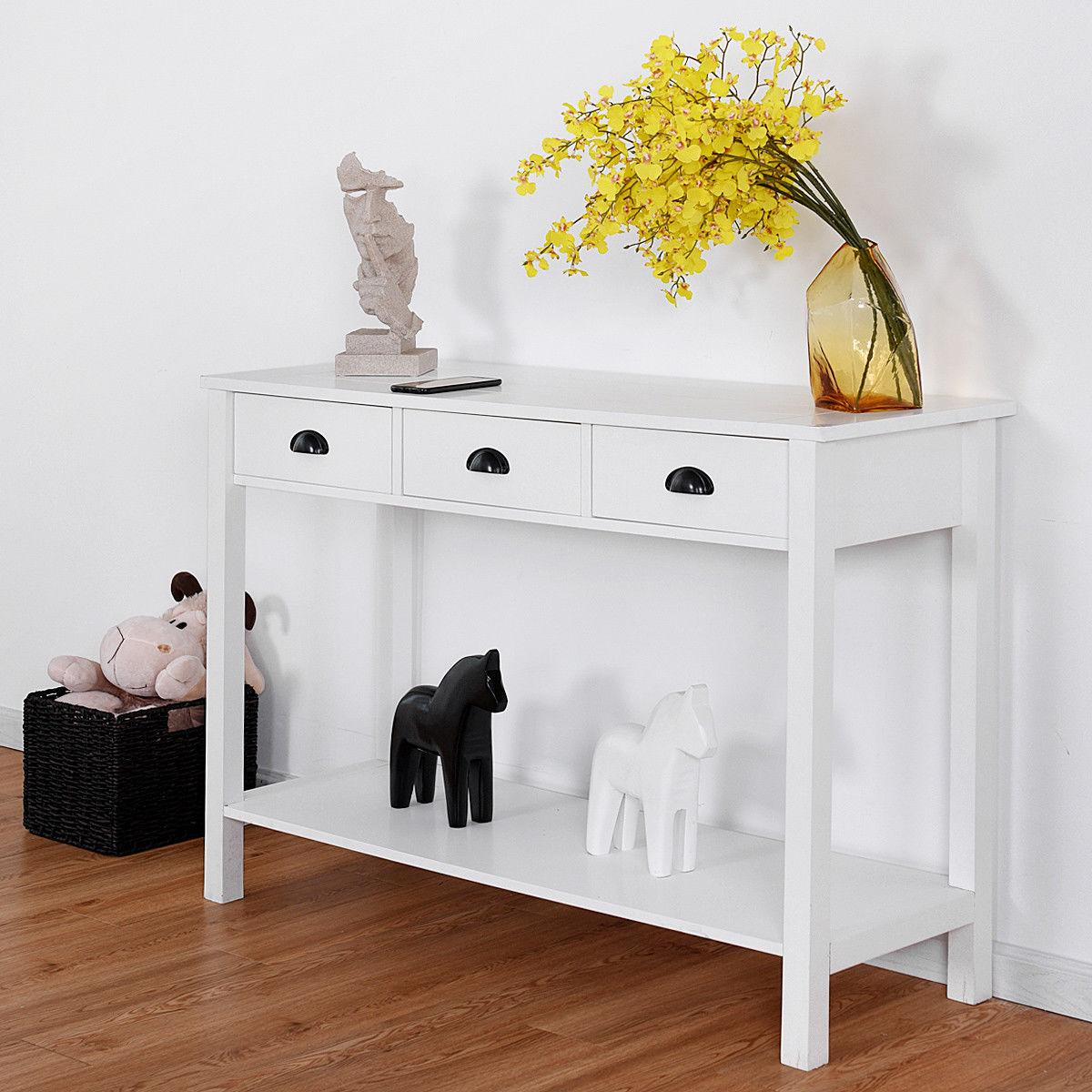 """47"""" Table Table Desk Drawers Shelf Entryway White"""