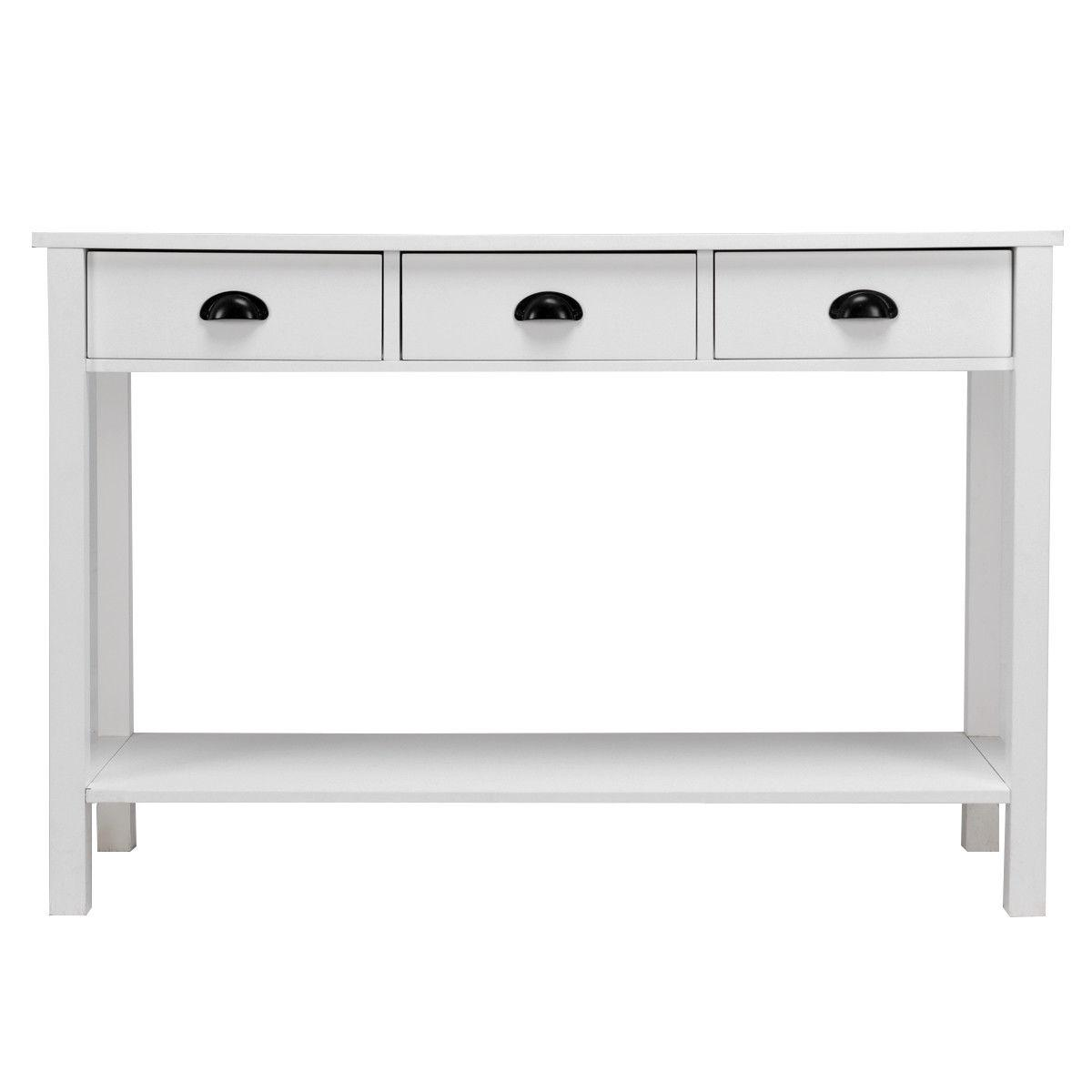 """47"""" Table Accent Table Desk Drawers Shelf Entryway White"""