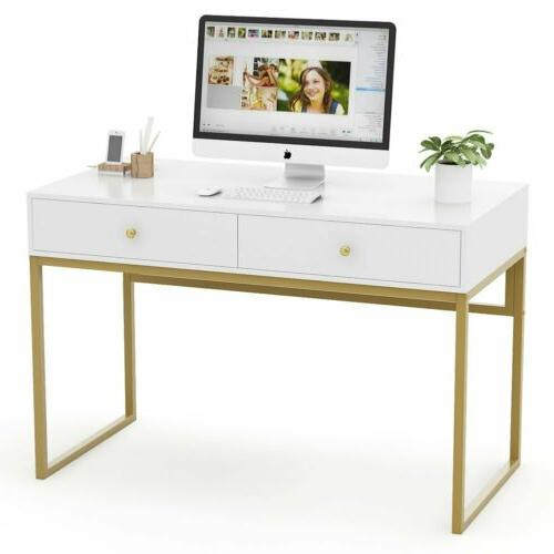 """Modern 47"""" Home Desk 2 Drawers Console"""