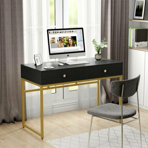 Modern Computer Desk with Drawers White Gold Study Makeup Va
