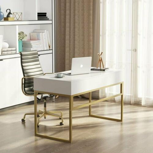 """Modern 47"""" Home Desk Storage Drawers Gold Console Table"""