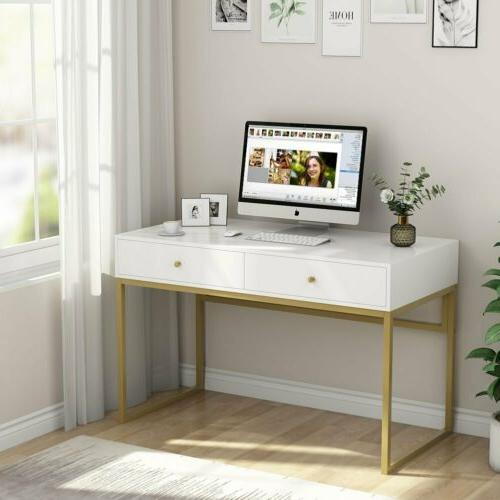 Desk with 2 Drawers White and Gold Console Table
