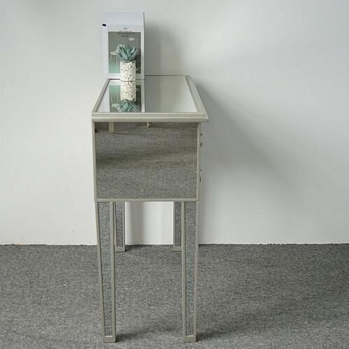 5 Make-Up Desk Console Dressing Silver Glass Table Modern