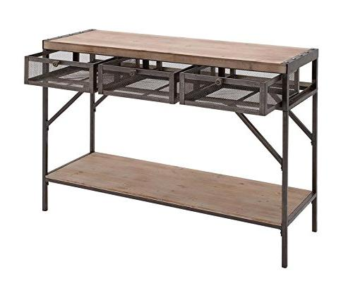 54486 wood metal console