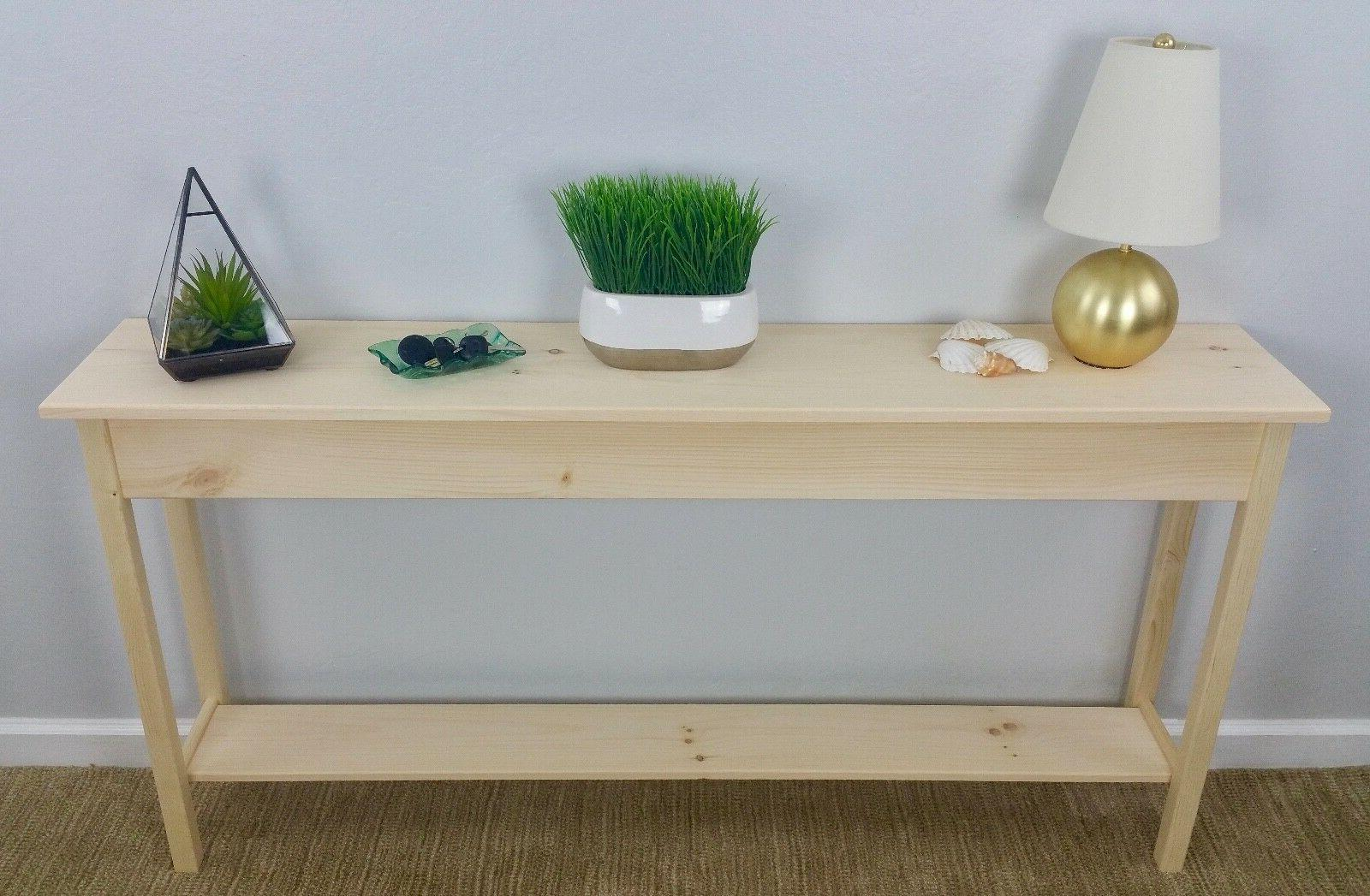 "60"" Unfinished Pine Console, Sofa, Hall, Wall Table With She"