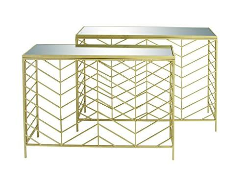 65498 metal glass console tables