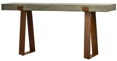 "71"" Long Rustic Concrete Steel Base Rust Finish"