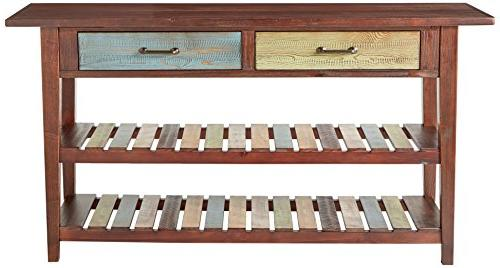 Ashley Signature - - Style Console - Rectangular - Brown Multi Colored Shelves