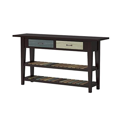 Ashley Signature - Mestler - Style Entertainment Console - Rectangular Brown with Shelves