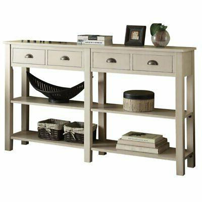 """Bowery Hill 72"""" Console Table in Cream"""