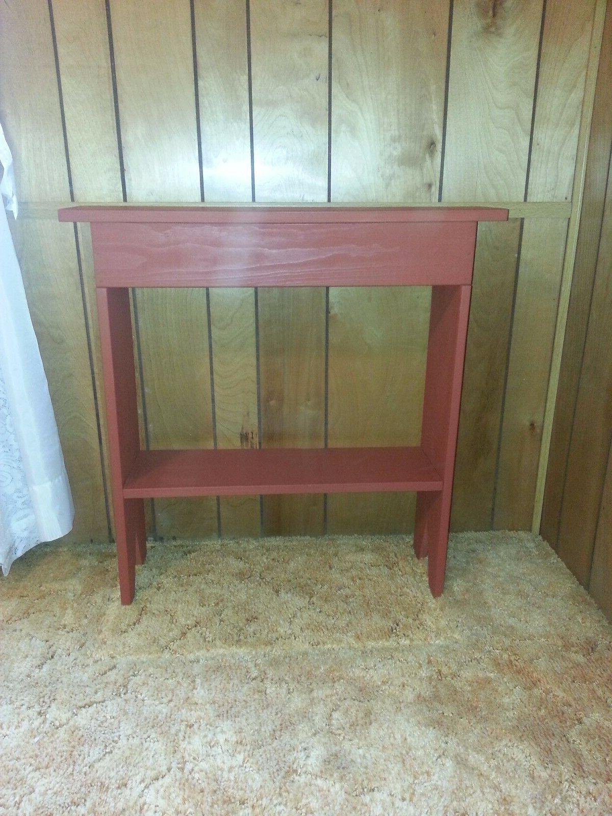 "RUSTIC/DISTRESSED CONSOLE TABLE PAINTED BARN RED - 30.5"" TAL"