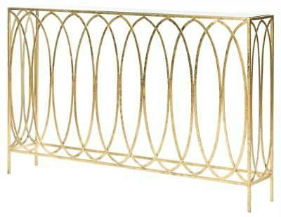 Carina Oval Ringed Console Table in Gold Finish