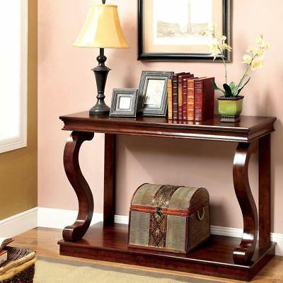 Cherry Finish Wood Entryway Console Storage Coffee Table Fur