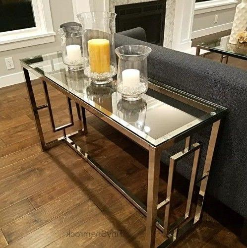 Chrome Console Table Glass Top Luxury Glamour Entry Hall Liv