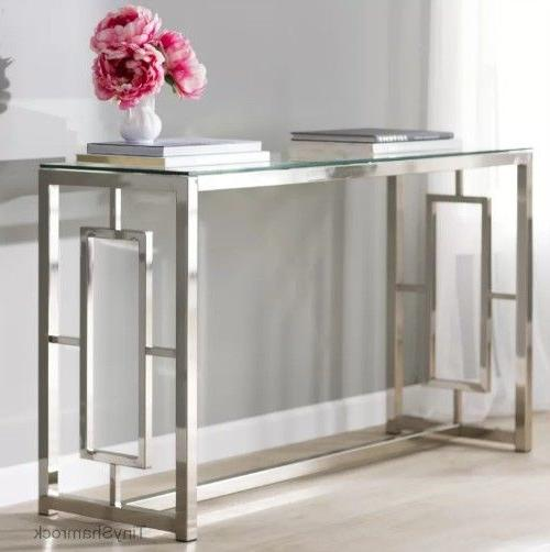 Chrome Console Table Top Luxury Glamour Entry Hall Room Furniture