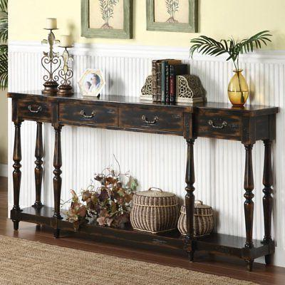 Coast to Coast Weathered Black 4 Drawer Console Table