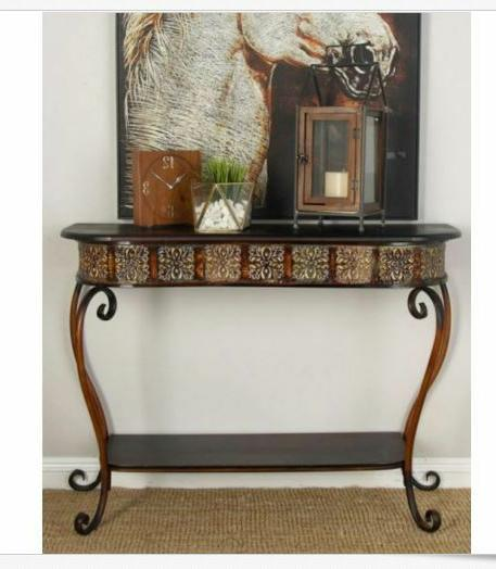 Console Sofa Table Entryway Ornate Vintage Porch Shelf Indus