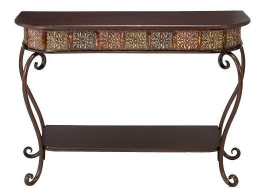 Console Table Wood Metal Style Accent Hallway
