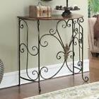Console Table Metal Wood Antique Finish Rustic Entryway Sofa