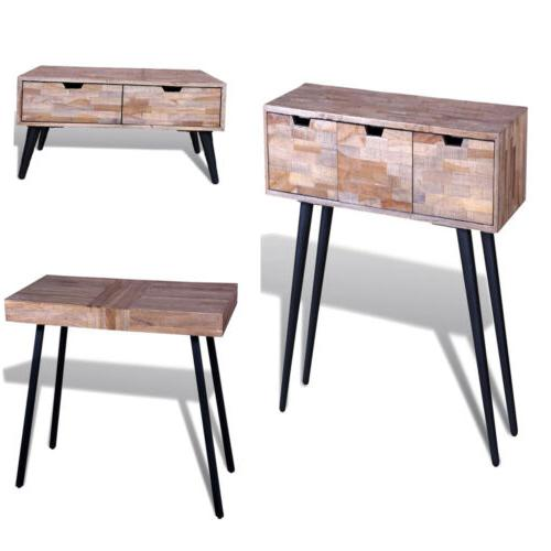 Console Table with 3 Drawers Reclaimed Teak Wood coffee tabl