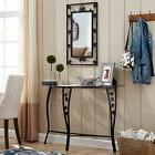 Console Table with Mirror Metal Wall Vanity Black Decor Glas