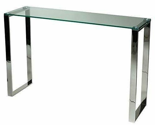 Cortesi Home Remi Contemporary Glass Console Table with Chro