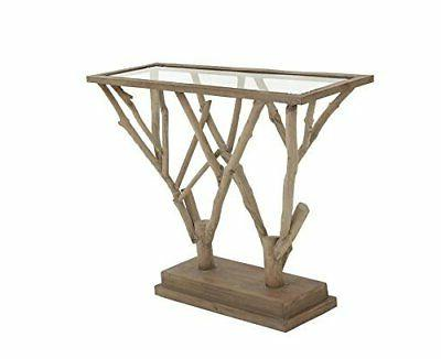 """Deco 79 54332 Wood Glass Console Table, 45"""" x 36"""""""