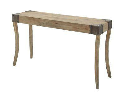 Deco 79 Console Table with Metal Bolts on Corners with Curve